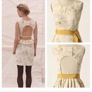 Anthro Ivory Gold Floral Dress Moulinette soeurs